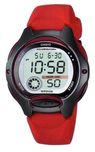 CASIO卡西歐LW-200-4A電子錶 黑紅色 女錶 學生錶 運動錶 日期 計時碼表 35mm LW-200-4AVDF