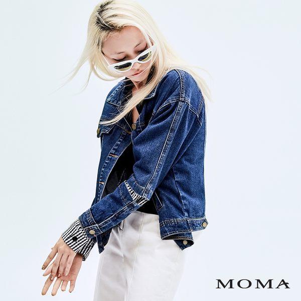 MOMA 假兩件拼接牛仔外套