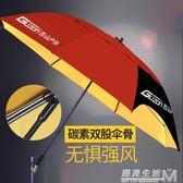 古山碳素釣魚傘釣傘雙骨抗風萬向防雨2.2米防曬垂釣漁具用品  igo 遇見生活