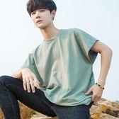 秋冬韓版寬鬆潮流短袖T恤男個性無袖背心青少年運動上衣