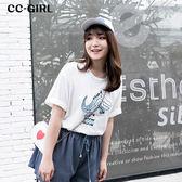 中大尺碼 字母塗鴉鱷魚棉T恤上衣~共兩色 - 適XL~4L《 66305J 》CC-GIRL