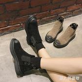 中大尺碼平底短靴 春季2019新款加絨馬丁靴女短筒英倫風學生棉鞋 DR10546【男人與流行】