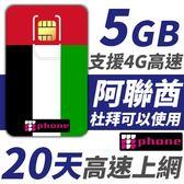 阿聯酋 20天 5GB高速上網 支援4G高速 (杜拜可以使用)