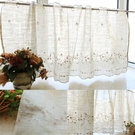 半簾小窗簾璀璨美式鄉村風刺繡花朵咖啡簾半簾簾頭成品窗簾穿桿簾小窗簾 大宅女韓國館