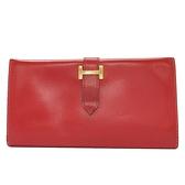 HERMES 愛馬仕 Rouge紅色牛皮H字對折長夾(破例銷售款) Bearn □C刻金釦 Box BRAND OFF