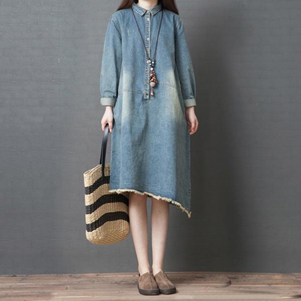 *ORead*韓版牛仔純棉下擺磨毛連身裙(淺藍~)