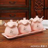 景德鎮歐式調味鹽罐調味料罐瓶廚房調味盒家用帶蓋陶瓷調味罐創意 莫妮卡小屋