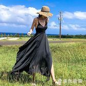 度假洋裝雪紡連身裙 夏季新款露背沙灘裙超仙顯瘦氣質吊帶裙長裙 QX9627 『愛尚生活館』