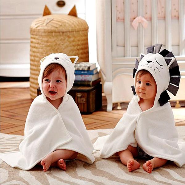 浴巾 動物造型 卡通連帽 純棉 抱被 抱毯 新生兒 包被 包巾 86005