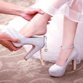 新娘鞋水晶婚鞋中跟銀色高跟鞋婚紗鞋女新款粗跟防水台伴娘鞋     韓小姐の衣櫥
