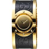 GUCCI 古馳 Twirl 雙G壓紋手環錶-黑x金/33mm YA112444