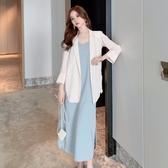 兩件套法國小眾洋氣小西裝套裝女夏裝寬鬆外套 美背吊帶連衣裙子  喵喵物語