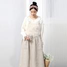正韓 亞麻方領吊帶長裙 (8718)