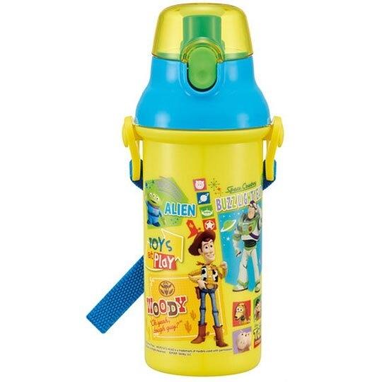 〔小禮堂〕迪士尼 玩具總動員 日製直飲式水壺附背帶《黃藍》480ml.水瓶.兒童水壺 4973307-47979