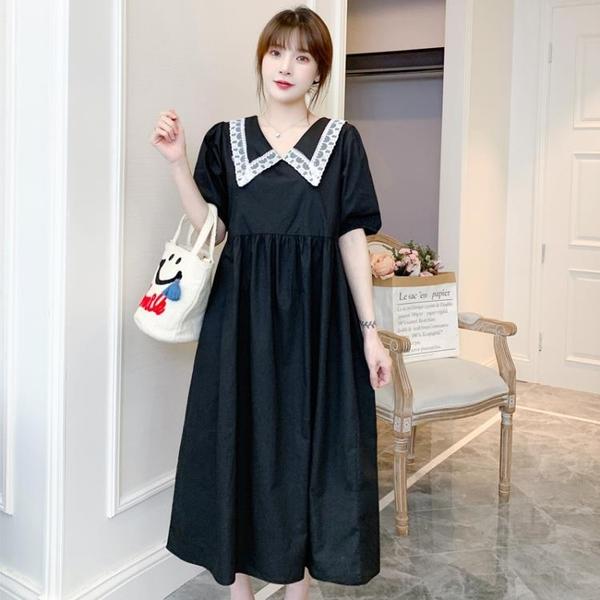 L-4XL胖妹妹大碼洋裝連身裙~大碼胖mm洋氣減齡寬松女套頭中長款連身裙3F061A衣時尚