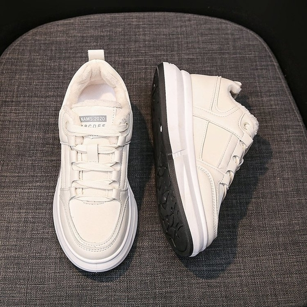 小白鞋2020新款女百搭冬加絨厚底棉鞋ins跑步休閒輕便軟底運動鞋 後街五號