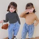 女童上衣T恤 女童條紋中半高領打底衫裝小童加厚長袖t恤純棉上衣 快速出货