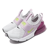 Nike 休閒鞋 Air Max 270 Extreme PS 灰 紫 童鞋 中童鞋 無鞋帶設計 運動鞋 【PUMP306】 CI1107-003