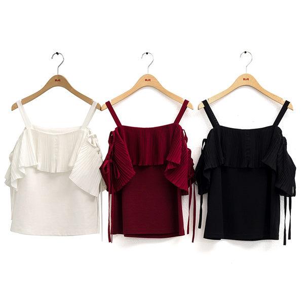 單一優惠價[H2O]壓褶雪紡拼接針織露肩側邊綁帶上衣 - 紅/黑/白色 #9671011