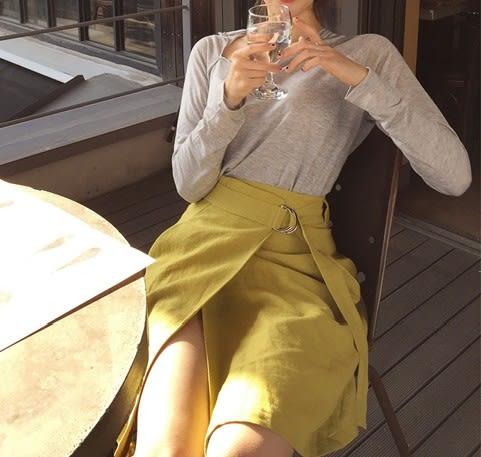 半身裙韓國夏款 清爽黃色圓環腰帶 開叉不規則半身裙