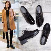 小皮鞋春季新款韓版百搭單鞋學院英倫風ins黑色復古中跟女鞋 沸點奇跡