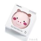 爆款同款粉色小豬美妝鏡LED補光燈USB充電暖手寶冬季御寒神器 快速出貨