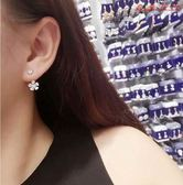 韓國925純銀針耳釘后掛式耳墜珍珠花朵 衣普菈