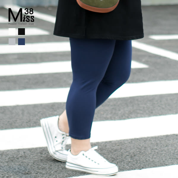 Miss38-(現貨)【A8492】熱銷款 大尺碼七分褲  多色百搭 超彈力 親膚純棉 內搭褲 打底褲-中大尺碼