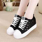 鏤空帆布鞋鞋女鞋透氣舒適小白鞋厚底內增高布鞋潮