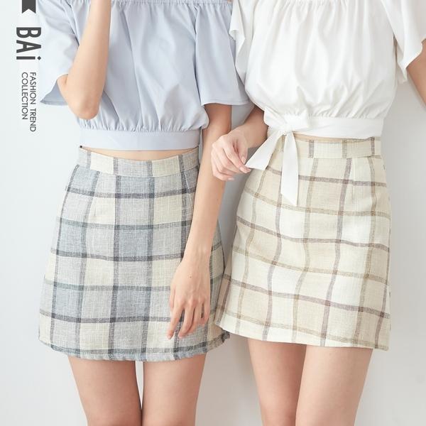 褲裙 線條方塊配色後拉鍊A字短裙S-L號-BAi白媽媽【190862】