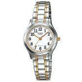 【CASIO】高貴優雅女士金銀不鏽鋼腕錶-數字白面(LTP-1275SG-7B)