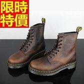 馬丁靴-經典復古做舊漸變8孔真皮中筒女靴子1色65d65【巴黎精品】