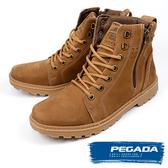 【PEGADA】巴西名品牛皮拉鍊中筒靴 棕色(181052-BR)