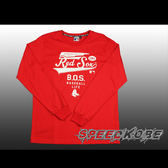MLB 秋冬服飾 薄版長袖棉T 紅襪 紅色 白草寫英文字  # 5560116-150 ☆speedkobe☆