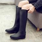 加絨雨鞋 女高筒冬時尚雨靴女 成人長筒水鞋女士防滑膠鞋馬丁水靴 依凡卡時尚