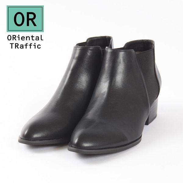 【ORiental TRaffic】百搭側鬆緊帶中跟短靴-百搭黑