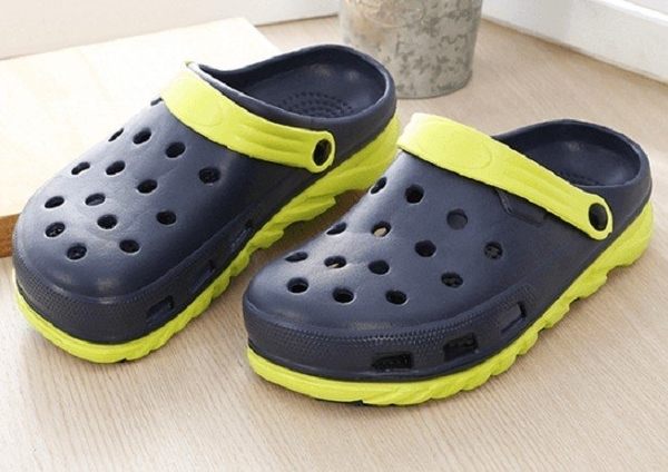(e鞋院)雙色厚底園丁鞋布希鞋-男款