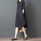 棉麻洋裝女夏季2020新款寬鬆大碼條紋顯...