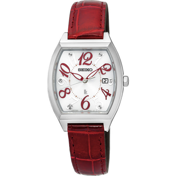 SEIKO 精工 LUKIA 遇見時刻太陽能女錶-白x紅色錶帶/26mm V137-0CE0R(SUT289J1)