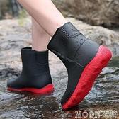 男士雨靴 雨鞋男中筒防水鞋成人男士時尚水鞋男短筒雨靴防滑工作鞋耐磨膠 母親節特惠