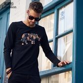 秋季男裝時尚潮牌個性動物圖案長袖T恤青年打底衫圓領體恤 免運