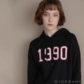 【GIORDANO】 女裝經典CAMPUS連帽T恤 - 01 標誌黑