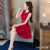 無袖洋裝 2020年夏天新款潮少女風裙子仙女超仙森系顯瘦露背性感連身裙 DR36329【Pink 中大尺碼】