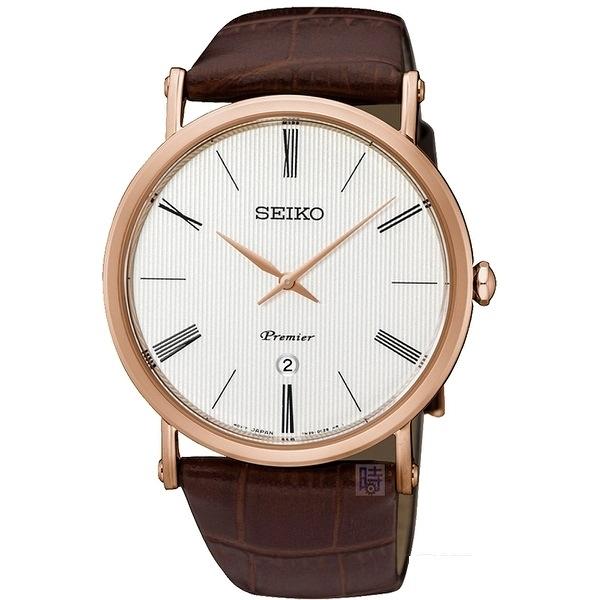 SEIKO 精工 超薄玫瑰金腕錶 SKP398J1 _7N39-0CA0J