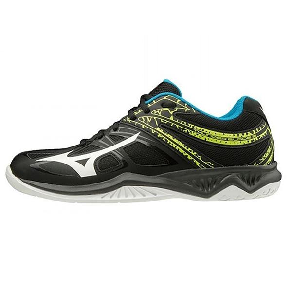MIZUNO THUNDER BLADE 2 男鞋 女鞋 排球 手球 輕量 耐磨 2.5E寬楦 黑藍【運動世界】V1GA197045