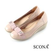 SCONA 全真皮 輕盈舒適鑽飾楔型鞋 粉色 22733-2