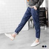 OB嚴選《BA2061-》牛仔拼布造型剪裁腰鬆緊哈倫褲.2色--適 S~L