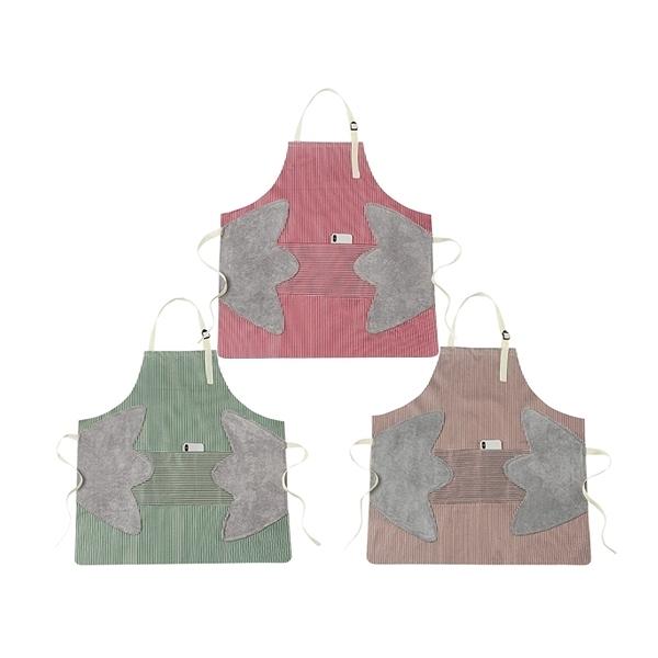 多功能時尚條紋可擦手防水防油口袋圍裙(1入) 顏色隨機出貨【小三美日】