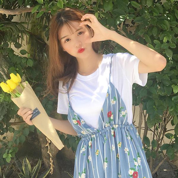 [超豐國際]夏季小清新碎花條紋吊帶裙高腰顯瘦雪紡連衣裙女學生1入