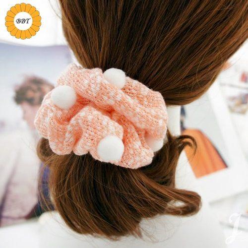 ☆棒棒糖童裝☆髮圈清新甜美可愛小毛球毛線髮圈  3色
